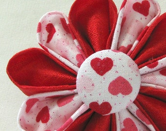 Red Hearts Silk Flower Pin Sweet Pink, Red and White Kanzashi
