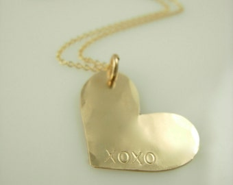 Gold Heart Necklace - Hand Stamped Heart Necklace - Personalized Heart Necklace