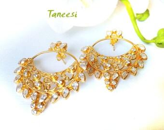Gold Earring Chand Bali Earring 22K Gold Plated Earring,Fine Jewelry,Kundan,Gemstone jewelry,bridal earring,post chandelier earrings TANEESI