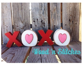 valentine XOXO Love wood blocks valentine heart seasonal personalized home gift decor
