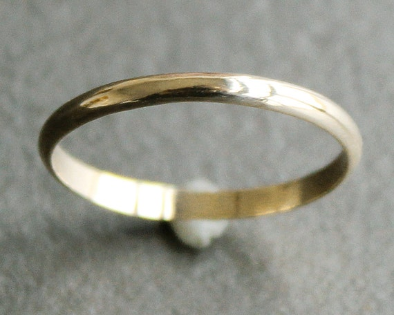 10K Solid Gold Ring 2mm Simple Half Round Band Classic