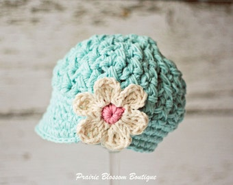 Crochet Toddler Hat, Robin's Egg Blue Hat for Girls, Crochet Hat with Flower, Toddler Newsboy Hat, 12 Months to 4T
