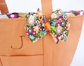 Small Personalized Orange/Floral Tote Bag---Fully Lined Canvas Tote Bag with a Matching Bow