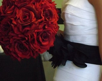 Winter vintage black lace and red rose bouquet and boutonniere, choose your color rose