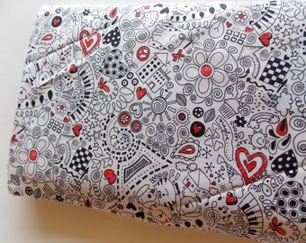 Timeless Treasure doodle fabric red white black