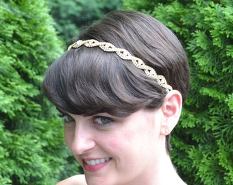 Gold Bridal Headband, Bridal Hairband, Wedding Headband, Wedding Hairband, Gold Rhinestone