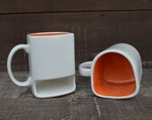 White with Bright Orange - Ceramic Cookies and Milk Dunk Mug - Ready to Ship