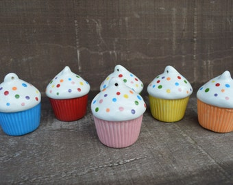 Adorable Ceramic Cupcake Ornament - Rainbow Sprinkles - Pick Your Color