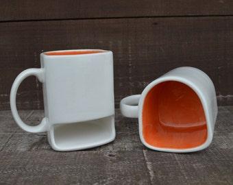 White with Bright Orange - Ceramic Cookies and Milk Dunk Mug - Ready to Ship