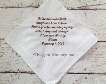 Father of the Bride, Father in Law, Embroidered Wedding Handkerchief