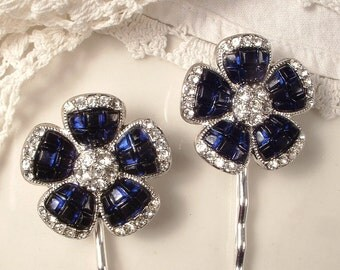 Vintage Navy Blue Hair Pins, Silver Sapphire Rhinestone Bridal Hairpins Clip Pair, Art Deco Flower Bobby Pins Set 2 Combs, Bridesmaids Gifts