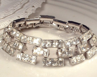 Art Deco Old HoLLyWooD Wide Link Rhinestone Bracelet, Silver Square Cut Pave Clear Crystal Flapper Jewelry, Vintage 1930 Gatsby Bridal