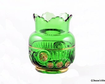 EAPG Green Spooner Riverside Glass ESTHER Tooth & Claw 1896