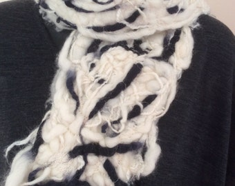 WARM WOOL SCARF, hand made,  winter warmth, black and white