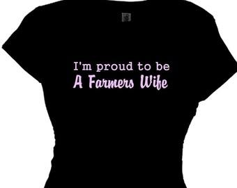 Farmers Wife Country Farming Family Farmer Girl Saying Message Tee Shirt Ladies Farming TShirt Farm Houses Plus Size Clothing T Shirt Funny