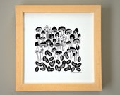 Toadstools and Seed Pods Ink Illustration