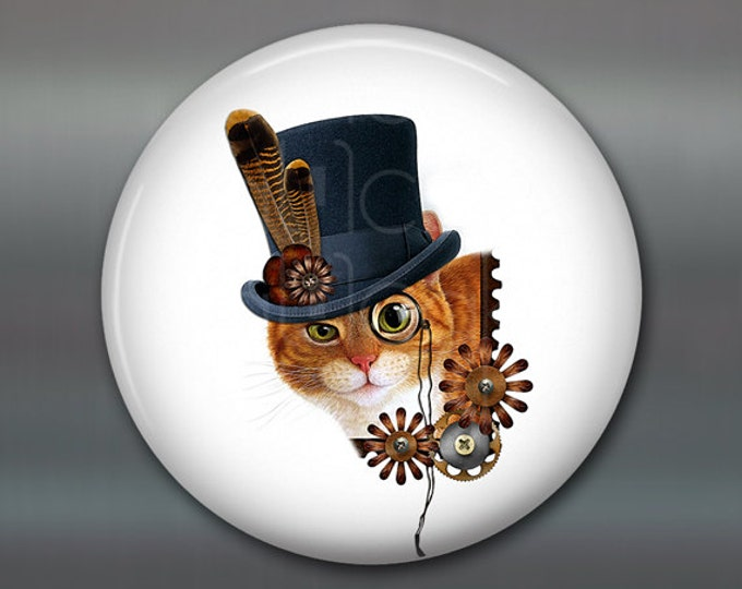 "3.5"" steampunk cat magnet, cat decor, steam punk decor, cat fridge magnet kitchen decor, large fridge magnet, housewarming gift MA-1013"