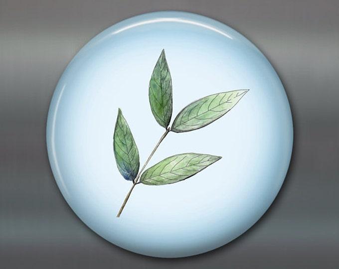 """3.5"""" leaf fridge magnet, green leaf decor, kitchen decor, big magnet,  MA-1907"""