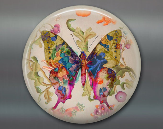 "3.5"" butterfly refrigerator magnet butterfly decor, cottage chic spring decor, kitchen decor, large magnet stocking stuffer MA-363"
