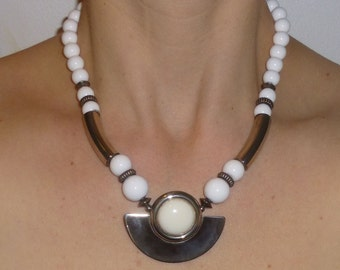 Vintage White Bead And Silver Tribal Style Necklace