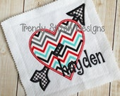 Heart and Arrow Applique Design Machine Embroidery Design INSTANT DOWNLOAD