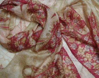 Beautiful  Paisley/Floral Print Scarf,  Recycled Sari Silk Scarf (20x68)