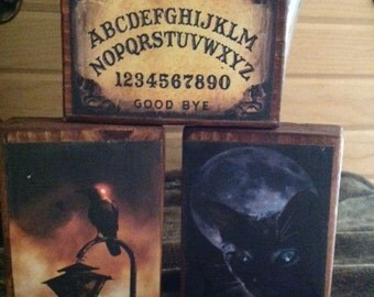 Set of 3 Primitive Halloween Wood Blocks featuring Crows, Ouija Board and Black Cat  Statteam OFG HaFair