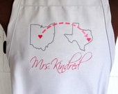 Personalized Apron with 2 US States - Customized with Hearts on City