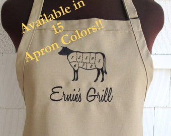 Personalized Grill Apron - Apron for Men - Personalized Fathers Day Gift - Cattle - Beef - Butcher- Grill