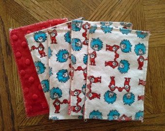 Kids Reusable Swipers - Dr. Seuss Thing 1 and Thing 2 Dimple Minky Hanky (set of 5)