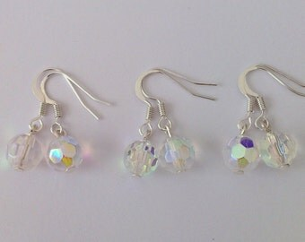 3 Pairs Simple Crystal Earrings, Set of 3 Bridesmaid Earrings, Clear Crystal AB Drop Earrings