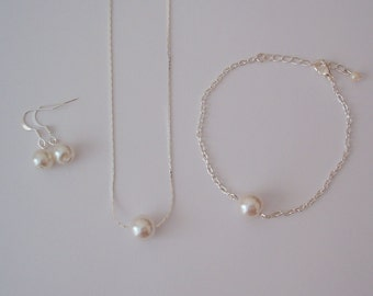 Set of 5 Floating Single Pearl Bridesmaid Gift Jewelry Set - Bridesmaid Necklace Bracelet Earrings