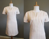 Shift Dress Vintage 60s Pale Pink Stripe Mod Mini Small