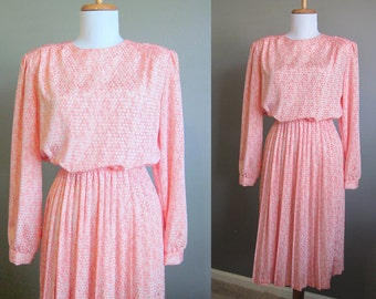 Pink Satin Secretary Dress Vintage 1980s Small Medium