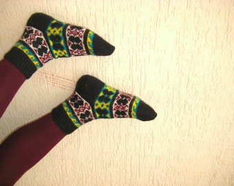 Home socks at cold winter days - Traditional warm comfortable hand knit house slippers - Ready to ship - Black White Green Yellow Claret Red