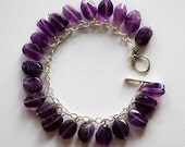 Purple Amethyst Nugget Bracelet with Sterling Silver- Custome Design Jewelry