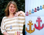 Nautical Baby Shower Game - Don't Say Baby Game Necklace Pieces - Anchor Theme - Priced per 15 pieces = Qty 1