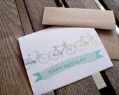 Birthday Card - Happy Birthday Bikes Bicycles, Enjoy the Ride Bike Enthusiasts, Teal Blue Grey Chartreuse Green Vintage Bikes Greeting