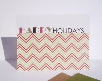 Holiday Card Set - Chevron Christmas Cards, Happy Holidays, Chevron Thank You Notes, Modern Geometric Greeting Cards, Red Green Note Cards