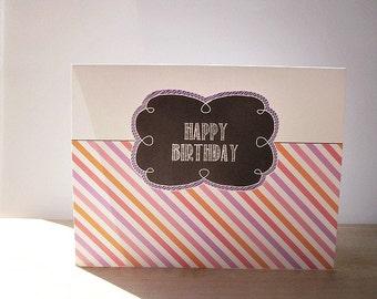 Birthday Card - Diagonal Stripes, Black Chalkboard Style Greeting Card, White Chalk Purple Pink Orange Birthday, Stripe Party Happy Birthday