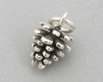 Sterling Silver 925 Charm Pendant Small 3d PINE CONE Pinecone Christmas SC557