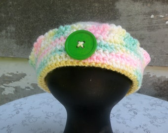 Crocheted Infant Hat, Ruffled Sailors Beanie, NB to 3 Months. Pastel Colors with Big Green Button