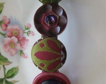 French Autumn Romance.vintage button assemblage barrette