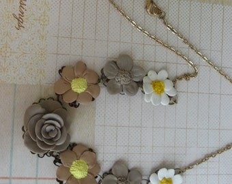 Classic vintage assemblage handsculpted flower necklace