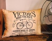 Vintage bicycle ad pillow