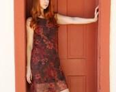 SALE - Vintage Brown Orange Roses Print Summer Day Dress