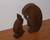 Two Penguins for Home Decor - Wooden Animals - Office Decor