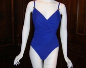 Clearance Sale 66% off One Piece Swimsuit  Vintage 1980s Purple Gold Buttons Carol Wior FREE SHIPPING