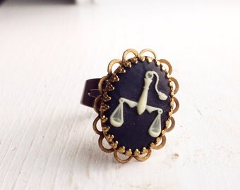 SALE WAS 8.00 now 5.00 Libra adjustable cameo ring Zodiac Astrology Boho Bohemian Steampunk