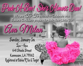 Baby Shower Invitation DIGITAL FILE - TuTu and Leopard or Zebra  Chair- Please Scroll Down and Read Below for Ordering/Printing Instructions